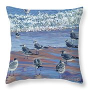 Where Seagulls Play Throw Pillow