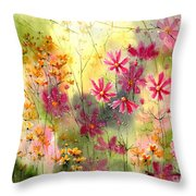 Where The Pink Flowers Grow Throw Pillow