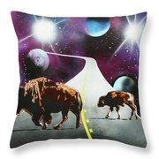 Where The Space Buffalo Roam II Throw Pillow