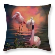 Where The Wild Flamingo Grow Throw Pillow