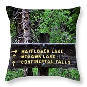 Which Way To Mayflower Lake Throw Pillow