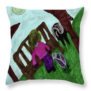 While Riding My Pony I Noticed A Butterfly Throw Pillow