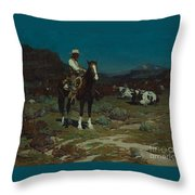 While Trail-weary Cattle Are Sleeping  Throw Pillow
