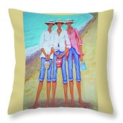 Whimsical Beach Women - The Treasure Hunters Throw Pillow