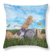 Whimsical Cats Throw Pillow