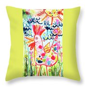 Whimsical Chicken Throw Pillow