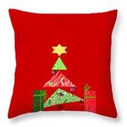 Whimsical Christmas Tree Throw Pillow