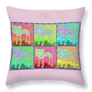 Whimsical Colorful Tabby Cat Pop Art Throw Pillow
