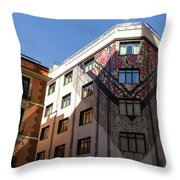 Whimsical Madrid - A Building Draped In Traditional Spanish Mantilla Throw Pillow