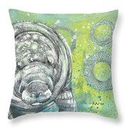 Whimsical Manatee Throw Pillow