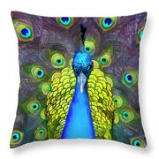Whimsical Peacock Throw Pillow