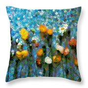 Whimsical Poppies On The Blue Wall Throw Pillow