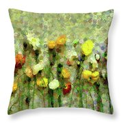 Whimsical Poppies On The Wall Throw Pillow