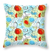 Whimsical Seamless Pattern Throw Pillow