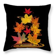 Whirling Autumn Leaves Throw Pillow