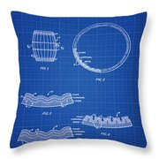 Whiskey Barrel Patent 1968 In Blue Print Throw Pillow
