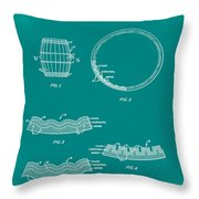 Whiskey Barrel Patent 1968 In Green Throw Pillow