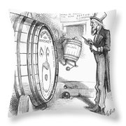 Whiskey Ring Cartoon, 1876 Throw Pillow