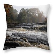 Whiskey River - Foggy Fall Waterscape Throw Pillow