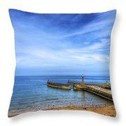 Whitby Beach Throw Pillow