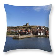Whitby Harbour With Abbey Ruins Throw Pillow