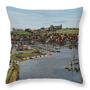 Whitby Marina And The River Esk Throw Pillow
