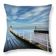 Whitby Piers Throw Pillow