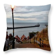 Whitby Steps Blue Hour Throw Pillow