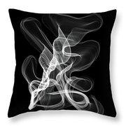 White Abstract Swirl On Black Throw Pillow