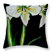 White Amaryllis Throw Pillow