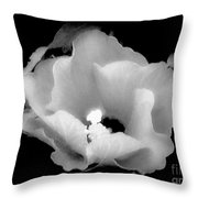 White And Black Hibiscus Flower Throw Pillow