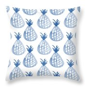 White And Blue Pineapple Party Throw Pillow