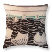 White And Grey Sailing Boats Throw Pillow