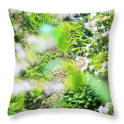 White And Pink Spring Throw Pillow