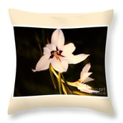 White And Purple Lily Throw Pillow
