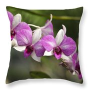 White And Purple Orchids Throw Pillow