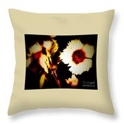 White And Red Dianthus Throw Pillow