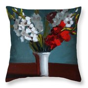 White And Red Gladioli Throw Pillow