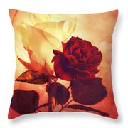 White And Red Roses Throw Pillow