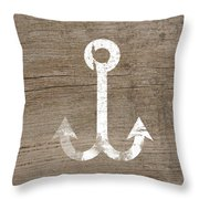 White And Wood Anchor- Art By Linda Woods Throw Pillow by Linda Woods