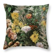 White And Yellow Chrysanthemums In The Garden At Petit Gennevilliers Throw Pillow