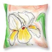 White And Yellow Iris Throw Pillow