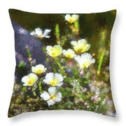 White And Yellow Poppies Abstract 2   Throw Pillow