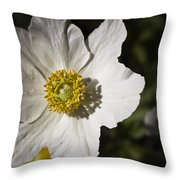 White Anemone Throw Pillow