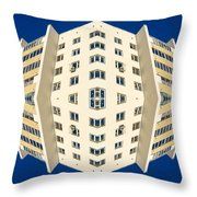 White Apartment Block Abstract And Blue Sky Throw Pillow