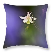 White Aquilegia Throw Pillow