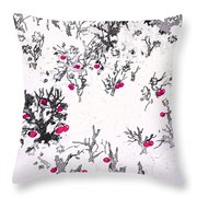 White As Snow With Cherries Throw Pillow