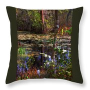 White Azaleas In The Swamp Throw Pillow
