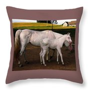 White Baby Horse Throw Pillow