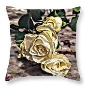 White Baby Roses Throw Pillow